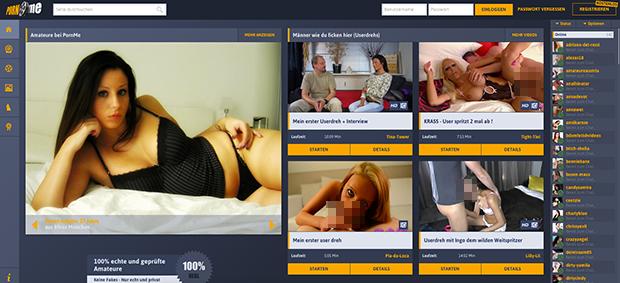 So sieht die Startseite von PornMe aus