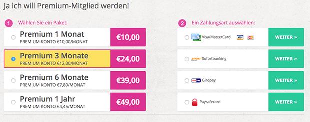 Auch die Premium-Abonnements sind auf SecretDate.com nicht teuer