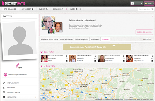 Das User-Interface auf SecretDate.com