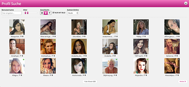 Die Suchfunktion vom Fun-Chat ermöglicht dir viele neue Mitglieder zu finden