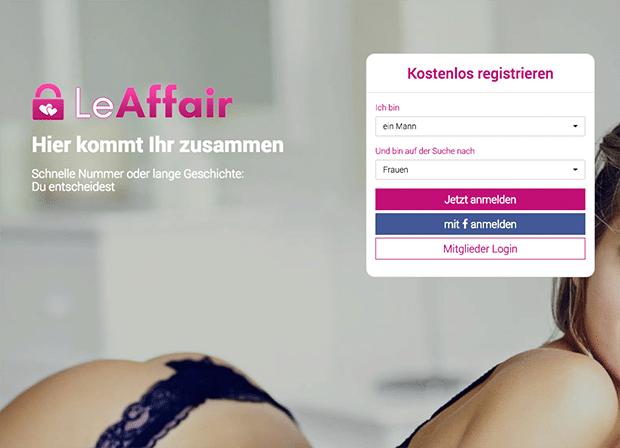 Die Startseite von LeAffair sieht so aus