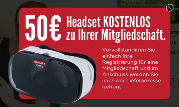 Wenn du Kunde bei RealityLovers wirst, bekommst du eine kostenlose VR-Brille dazu