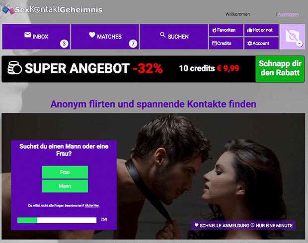 So sieht SexKontaktGeheimnis.com aus